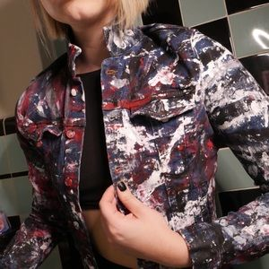 Painted artsy print Denim jacket size XS